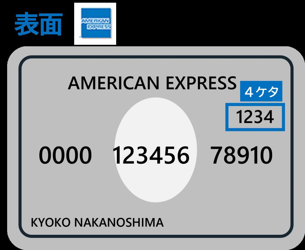 AmericanExpressのセキュリティコードは表面4ケタ